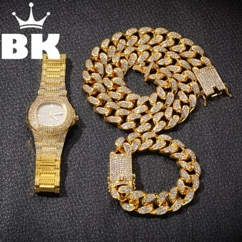 Hip Hop Gold Color Cuban Chain Gold Silver Necklace and Bracelet Plight  Free Luxurious Combination of Watch and Necklace Plight