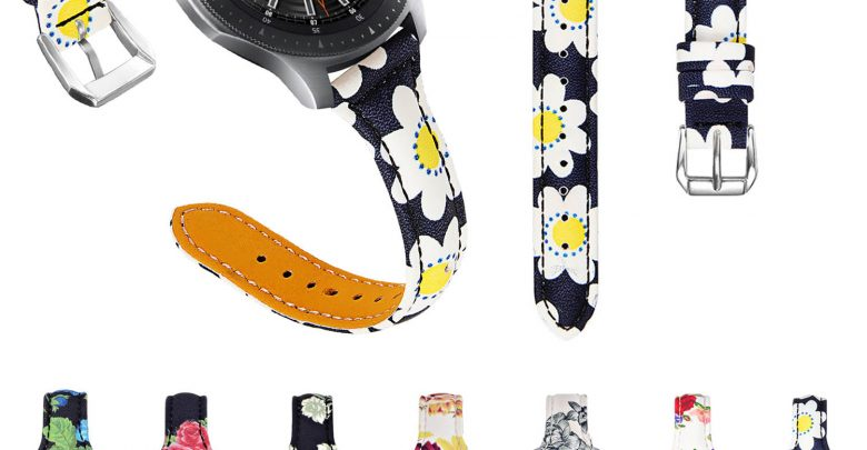 Leer Band for Samsung Galaxy Leer 46mm Gear S3 Traditional Frontier Flower Printed Leather-based Band for Huawei Leer GT Leer Strap
