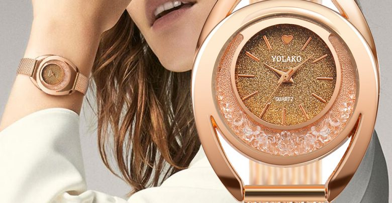 Strap See Band Quartz Stainless-Metal Casual Luxurious Style Analog